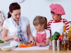 mae em casa com os filhos